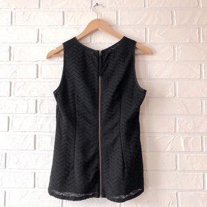 Banana Republic lace sleeveless zip back tank top